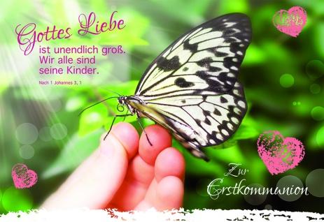 Kommunionkarte Schmetterling Zur Erstkommunion (6 Stck) Kommunion Grußkarte