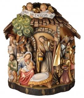 Krippengruppe Baumstamm Holzfigur geschnitzt Südtirol Weihnachtskrippe