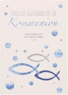 Glückwunschkarte Fische Herzliche Glückwünsche zur Kommunion (6 Stück)