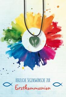 Glückwunschkarte Herz-Edelstein-Anhänger grüner Aventurin zur Kommunion 5 Stk