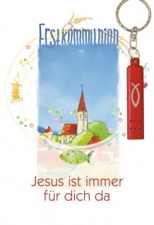Glückwunschkarte Jesus ist immer für mich da (5 St) mit Taschenlampe Kommunion