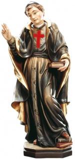 Heiliger Camillo von Lellis mit rotem Kreuz auf Brust Holzfigur geschnitzt