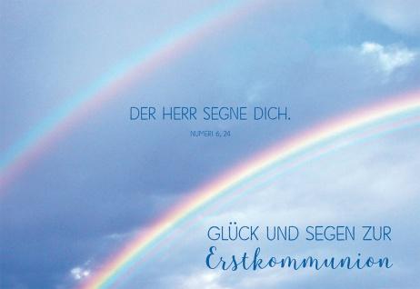 Glückwunschkarte Glück und Segen zur Erstkommunion mit Bibelwort Kuvert 6 Stk