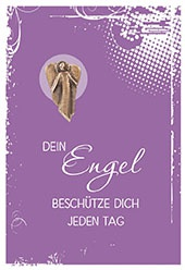 Klappkarte Neusilber-Engel Plakette Dein Engel beschütze (5 St) Grußkarte Kuvert