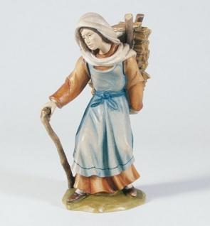 Krippenfigur Hirtin mit Holzkrax Mesner-Krippe 22 cm Krippen Figur Weihnachten