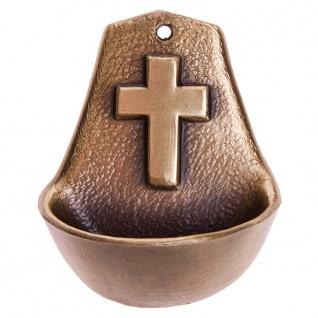 Weihwasserkessel Kreuz 8, 5 cm Metall bronziert Weihwasserbecken