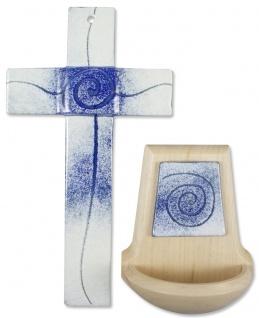 Glaskreuz Weihwasserkessel Set Spirale Glas Holz blau weiss Kreuz Weihbecken