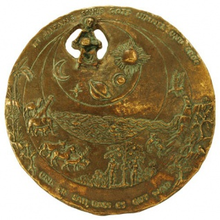Wandplakette Schöpfung, Edelpatina Ø 19, 5 cm Bronze