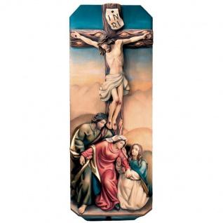 Kreuzigungsgruppe Holzfigur geschnitzt Südtirol Heiligenfigur