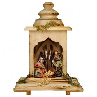 Ulrich Krippe Set mit Licht 5 Teile Holzfigur geschnitzt Weihnachtskrippe
