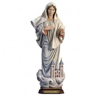 Madonna Medjugorje mit Kirche Holzfigur geschnitzt Südtirol Marienfigur