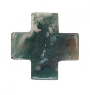 Kreuzanhänger Moosachat mit Kordel, 3 x 3 cm