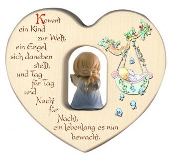 Herz mit Schutzengel blau Segen Gebet Holz geschnitzt 12 cm Taufgeschenk