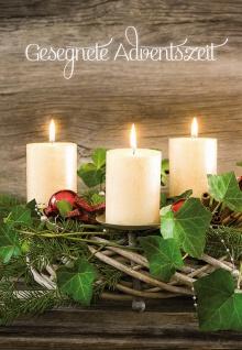 Glückwunschkarte Gesegnete Adventszeit (6 St) Adventskranz Grußkarte mit Kuvert