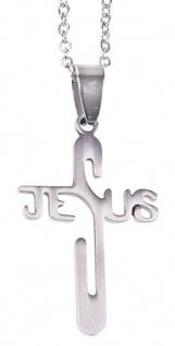 Schmuckkreuz JESUS Kreuz Edelstahl Kette 60 cm Erstkommunion Kruzifix