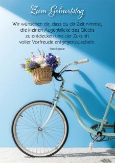 Postkarte Geburtstag Franz Hübner Fahrrad-Korb Blumen 10 St Wunsch Glück