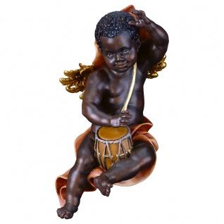 Putte dunkelhäutig mit Trommel Holzfigur geschnitzt Südtirol Puttenfigur