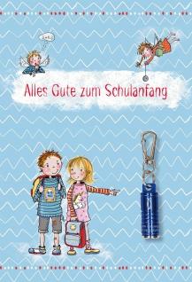 Glückwunschkarte Schulanfang mit Taschenlampe Heidi Rose (5 Stück mit Kuvert)