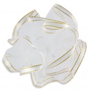 Kerzenmanschette Satinband Gold glänzend Tüll weiß 12 x 9 cm für Langkerzen
