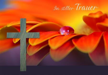 Trauerkarte In stiller Trauer (5 Stck) Holzkreuz Beileidskarten Kondolenzkarten