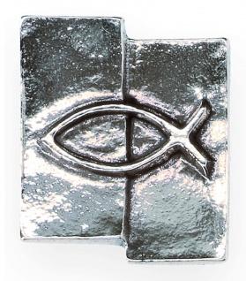 Kreuz-Plakette Fisch Ichthys Neusilber 5 cm Wandkreuz Wandbild Deko
