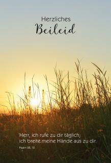 Trauerkarte Beileid 6 St Kuvert Bibelwort Psalm Meditation Sonnenuntergang Trost