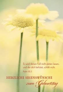 Glückwunschkarte Herzliche Segenswünsche zum Geburtstag (6 St) Blumen Psalm