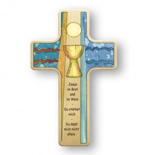 Kinderkreuz Erstkommunion Abendmahl Brot Wein Kreuz Buchenholz 18 cm Wandkreuz