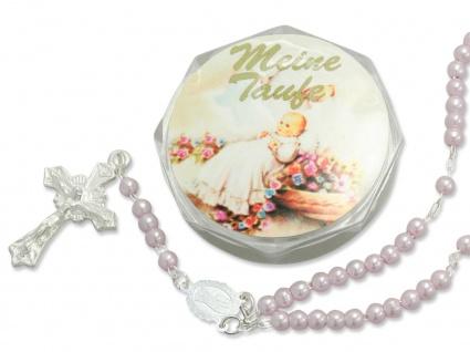 Tauf-Rosenkranz 15 cm rosa Perlen Taufschmuck Mädchen mit Rosenkranz-Etui
