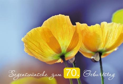 Glückwunschkarte Segenswünsche zum 70. Geburtstag (6 St) Gelbe Mohnblumen