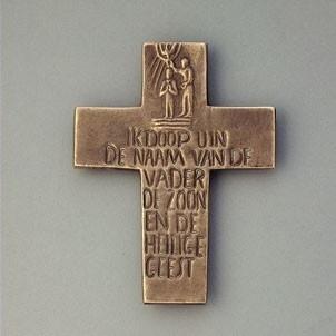 Wandkreuz Taufe Kinderkreuz Taufkreuz niederländischer Text Bronze 12 cm