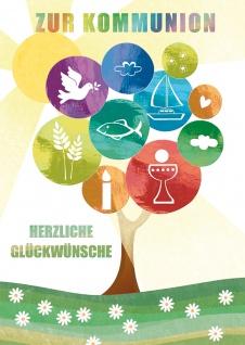 Glückwunschkarte Lebensbaum und christliche Symbole Kommunion (6 Stück) Kuvert