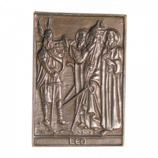 Namenstag Leo 8 x 6 cm Bronzeplakette Bronzerelief Wandbild Schutzpatron