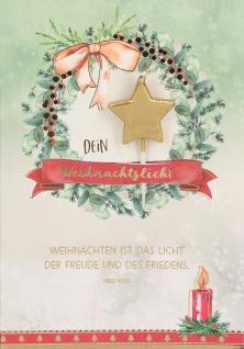 Weihnachtskarte Dein Weihnachtslicht mit Sternkerze (5 Stück) Kuvert