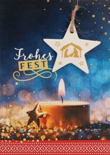 Weihnachtskarte Stern-Anhänger 5 St Kuvert Tanja Sassor Porzellan Wärme Licht