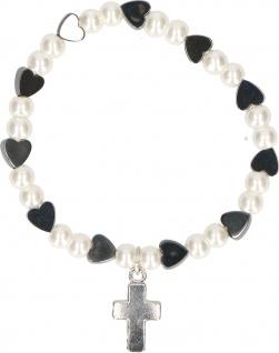 Armband Kunstguss Metallperlen Herzform schwarz weiß Kreuz Geschenkverpackung