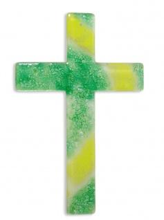 Kreuz aus Glas Fusing-Glas Kreuz Handarbeit grün 25 cm Wandkreuz Glaskreuz