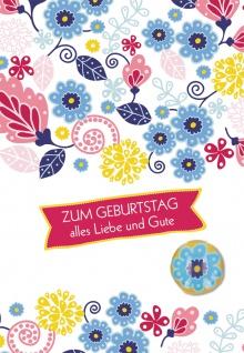 Glückwunschkarte Geburtstag Glas-Magnet Blume 5 St Kuvert Freude Glück Herz