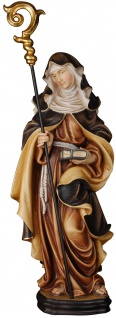 Heilige Waltraud mit Buch Holzfigur geschnitzt Südtirol Schutzpatron Äbtissin