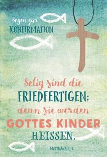 Konfirmation Grußkarte Segen zur Konfirmation (5 St) Kreuz Holzanhänger