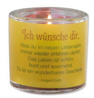Glaswindlicht Lebensjahr Teelicht Kerzenhalter Geschenkbox Glas für Windlicht