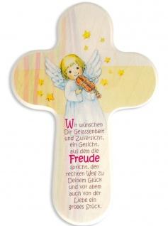 Kinderkreuz Schutzengel Geige Naturholz Glückwünsche 16x10 cm Wandkreuz