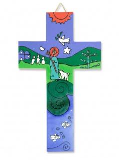 Kinderkreuz Guter Hirte Naturholz El Salvador 15 cm handbemalt Wandkreuz Kreuz