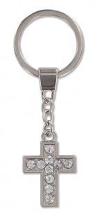 Schlüsselanhänger Kreuz Metall mit Glasstein Christlich