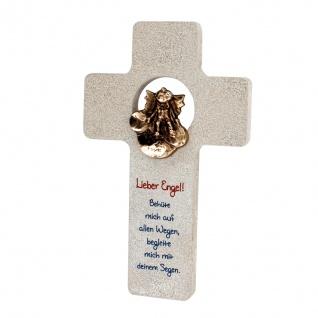 Wandkreuz Naturstein Kreuz Schutzengel Wolke Bronze 18 cm Kruzifix Christlich