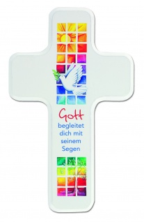Kinderkreuz Buche Holz weiß Gott begleitet dich 18 cm Wandkreuz Kommunion Segen