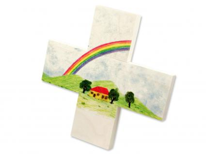Kinderkreuz Regenbogen Haus Taufe Naturholz 12 cm Wandkreuz Taufkreuz Geschenk