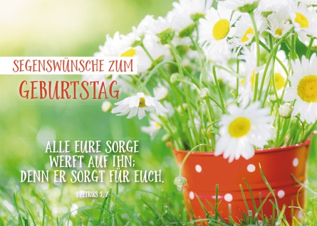 Postkarte Geburtstag Margeriten 10 St Adressfeld Bibelwort Segen Sorglosigkeit