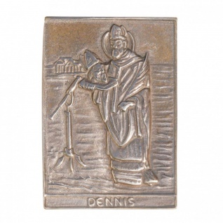 Namenstag Dennis 8 x 6 cm Bronzeplakette Bronzerelief Wandbild Schutzpatron
