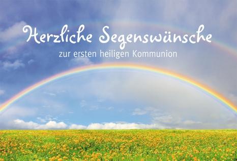 Glückwunschkarte Herzliche Segenswünsche zur heiligen Kommunion (6 St) Regenbogen